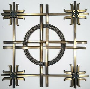 Mid Century Solid Brass Panel Architectural Wall Hanging Ornament Vintage