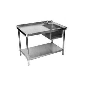24 x48 All Stainless Steel Kitchen Work Table With Prep Sink On Right W faucet