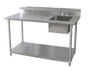 Bk Resources 30x72 Stainless Steel Work Table With Prep Sink On Right W faucet