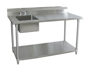 Bk Resources 30x72 Stainless Steel Work Table With Prep Sink On Left W faucet