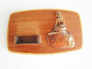 Vintage Wood Copper Metal Business Card Holder Nude Woman Mermaid Wall Hanging