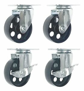 Caster Wheels 4 Heavy Duty Swivel Plate Casters Set Steel Wheel Lot Cart Chair