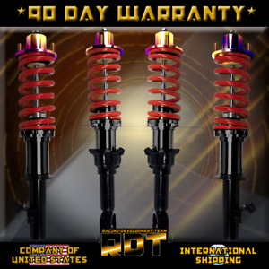 Coilover Kit Red W N chrome Top Hats Black Scaled Sleeve 96 00 Honda Civic