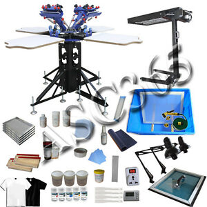 4 Color 4 Station Screen Printing Kit Silk Screen Press Equipment