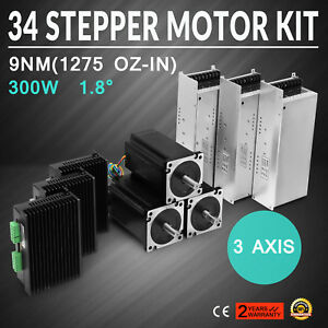Us Ship 3 Axis Cnc Kit 1275oz in Nema 34 Stepper Motor Dm860t Driver Cnc Mill