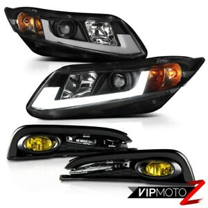 2013 Honda Civic Sedan renew Style Angel Tube Projector Headlights Yellow Fog
