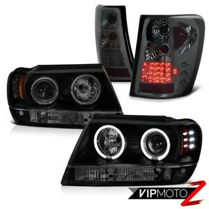 99 04 Jeep Grand Cherokee I6 Led Projector Drl Head Light Tint Rear Reverse Tail