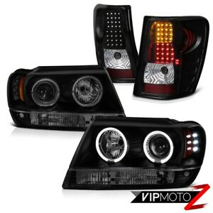 Jeep Grand Cherokee Wj 99 04 Limited Halo Led Headlight Sinister Black Tail Lamp