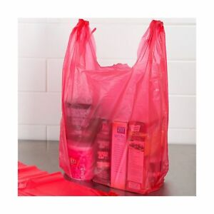 Rg Large Plastic Grocery T shirts Carry out Bag Red Unprinted 12 X 6 X 21 10