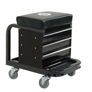 Rolling Tool Box Creeper Seat Utility Trolley Storage Drawers Chest Garage Tray
