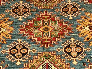 10 X 14 Very Fine Hand Knotted Vegetable Dyes Hand Spun Wool Afghan Kazak Rug