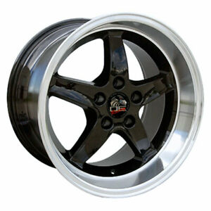 Black 17 Rim W Machined Lip Mustang Cobra R Deep Dish Style Wheel 17x10 5