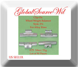 0.75oz 21g Clip-On Wheel Weight FN Style For Alloy Rims Japanese Cars lot 50 Pcs