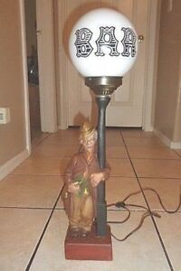 Vintage Leviton Bar Lamp 23 Tall Chalkware 40s 50 S Bakelite Switch Exceptional