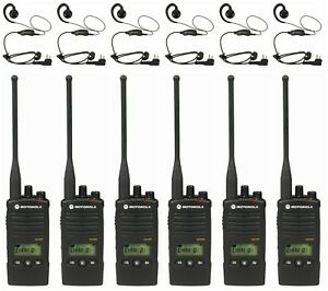 6 Motorola Rdu4160d Uhf Business Two way Radios Headsets