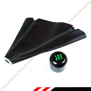 M10 X 1 25 Jdm Type r Blk Green 5 Speed Gear Knob Leather Shift Boot For Mazda