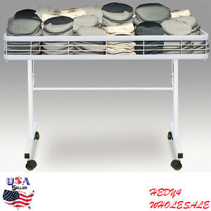 Folding Dump Table Bin Wheels Mobile Display Basket Retail Rolling Merchandiser