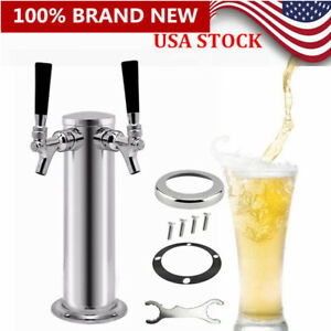 Double Tap Stainless Steel Draft Beer Tower Homebrew Kegerator Chrome Faucet Us
