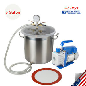5 Gallon Vacuum Chamber And 3cfm 1 3hp Single Stage Pump To Degassing Silicone