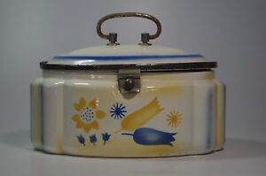 Antique Art Deco Cookie Jar Biscuit Ceramic Airbrush