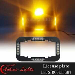 14 Led Strobe License Plate Lights Amber Warning Flasher Traffic Advisor Yellow