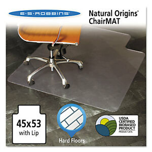 Es Robbins Natural Origins Chair Mat With Lip For Hard Floors 45 X 53 Clear