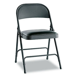 Alera Steel Folding Chair With Two brace Support Padded Seat Graphite 4