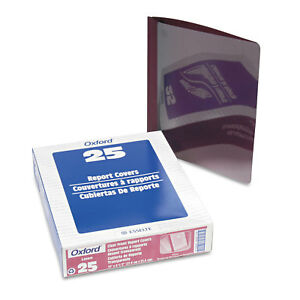 Oxford Linen Finish Clear Front Report Cover 3 Fasteners Letter Burgundy 25 box