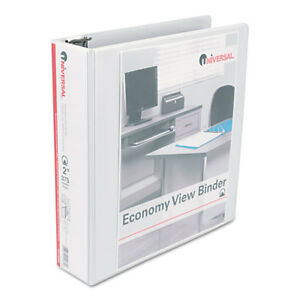 Universal Economy Round Ring View Binder 2 Capacity White 6 pack 20982pk