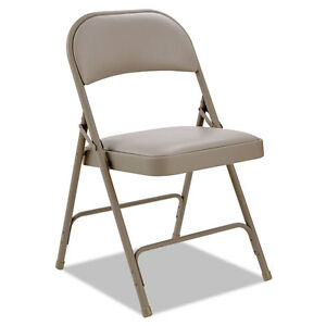 Alera Steel Folding Chair With Two brace Support Padded Back seat Tan 4