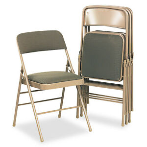 Cosco Deluxe Fabric Padded Seat Back Folding Chairs Cavallaro Taupe 4 carton