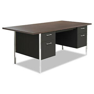 Alera Double Pedestal Steel Desk Metal Desk 72w X 36d X 29 1 2h Walnut black