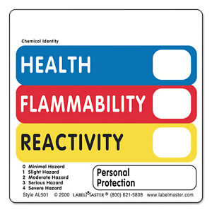 Labelmaster Warehouse Labels 4 1 2 X 2 7 8 Health Flammability Reactivity 500