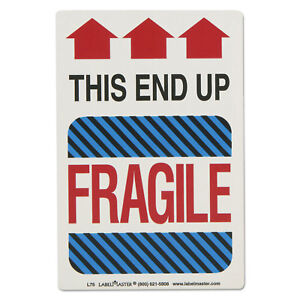 Labelmaster Shipping Self adhesive Label 5 7 8 X 4 1 4 This End Up Fragile 500