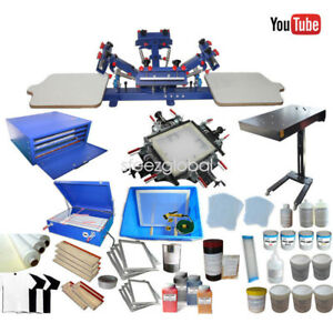 Screen Printing Kit Equipment 4 Color Screen Printing Press Diy Materials