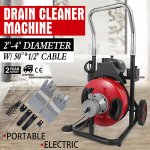 50ft 1 2 Drain Auger Pipe Cleaner Machine Plumbing Cleaning Machine 1750rpm