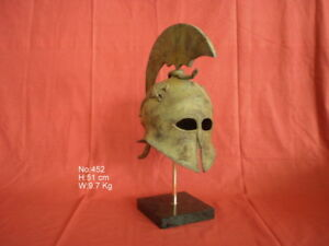 Ancient Greek Spartan Bronze Helmet Real Size Museum Replica On Marble Base
