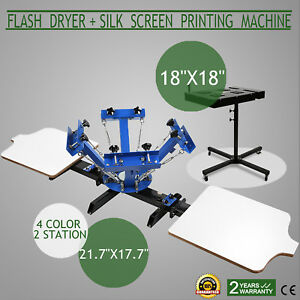 Full 4 Color 2 Station Silk Screen Printing Machine Press Flash Dryer Equipment