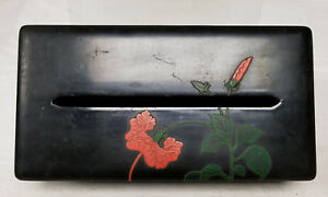 Antique Vintage Lacquer Japanese Tissue Kleenex Box Floral 20th Century
