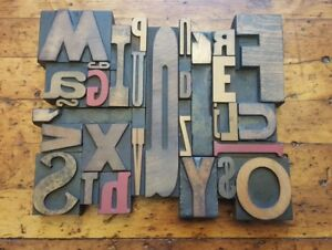 30 Vtg Letterpress Wood Type Print Blocks Collage Display printing All Separate