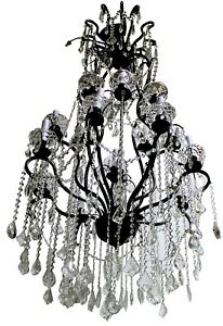 Vintage Black Lacquered Steel Crystal Glass 13 Light Chandelier