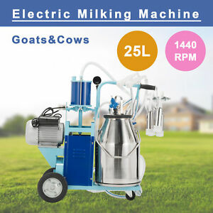 25l Electric Milking Machine For Goats Cows W bucket 12cows hour Piston 1440rpm