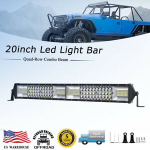 20inch 1664w Cree Led Work Strip Light Bar Quad Row Spot Flood Combo Offroad 19