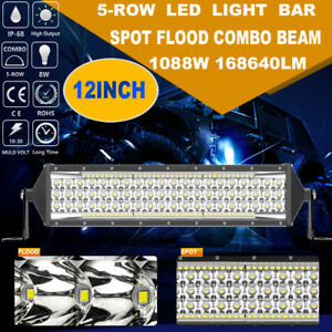 1088w Cree 12 Inch Led Work Light Bar 5 Row Spot Flood Combo Offroad Truck 4x4wd