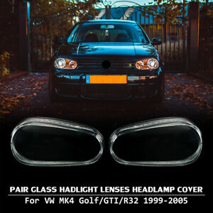 For 99 05 Vw Mk4 Golf Gti R32 Replacement Glass Headlight Lens Cover Lh Rh Pair