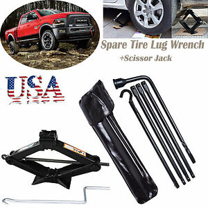 Hi q 2 Ton Scissor Jack Spare Tire Lug Wrench Tool For 2002 15 dodge Ram 1500
