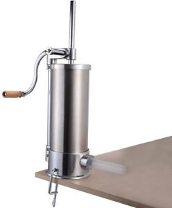 Sausage Stuffer Maker Tool Meat Filler Machine Stainless Steel With 6 Size Tubes