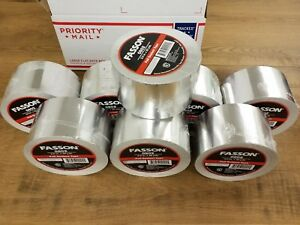 Lot Of 8 Fasson Foil Tape Hvac 3 Inch 50 Yards Silver