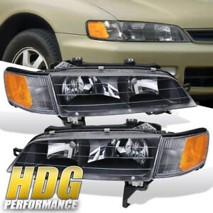 Black Headlight For 1994 1997 Honda Accord 2 4dr Amber Signal Side Reflector