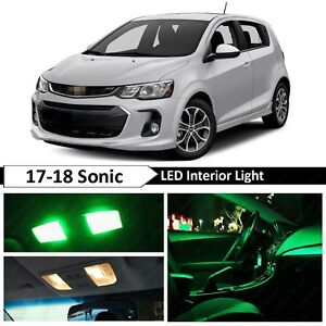 Green Interior Map License Plate Led Light Package Kit Fit 2017 2018 Chevy Sonic